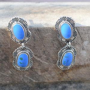 Jewelry - Turquoise Southwestern Earrings Concho Long Blue
